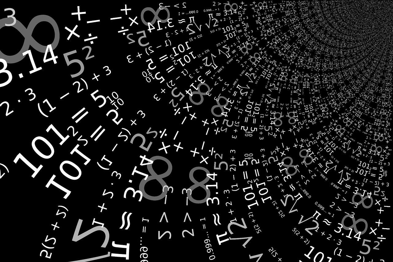 White numerical symbols on a black background