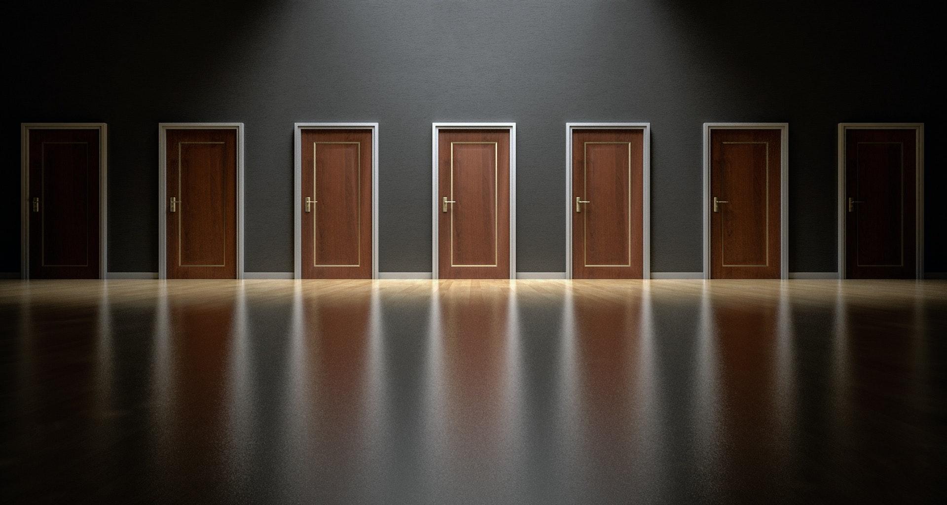 Seven wooden doors