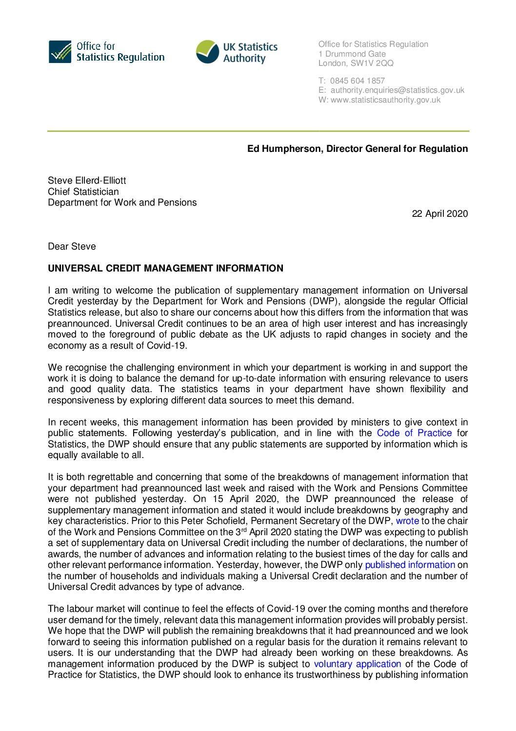 Ed Humpherson to Steve Ellerd-Elliott: Universal Credit management information