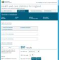 Screenshot of ONS health statiatics tool